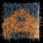 Paper House 3. 13w x 13l x 3d. Woven linen ground, knots of linen, pine, bamboo and silk paper yarns.